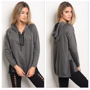 Charcoal Lace Up Hoodie